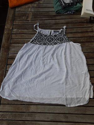 Yessica Długi top biały-czarny