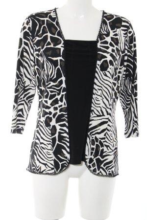 Sommermann Langarm-Bluse schwarz-weiß abstraktes Muster Casual-Look
