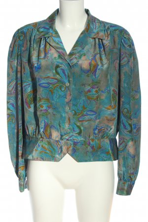 Sommermann Langarm-Bluse blau abstraktes Muster Casual-Look