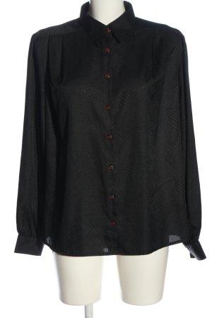 Sommermann Langarm-Bluse schwarz Allover-Druck Elegant