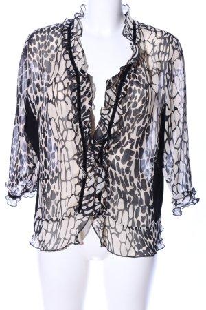 Sommermann Transparenz-Bluse schwarz-wollweiß Leomuster Elegant