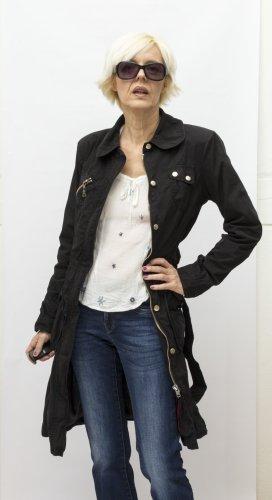Vero Moda Długa kurtka czarny Bawełna