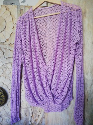 Pull en crochet mauve