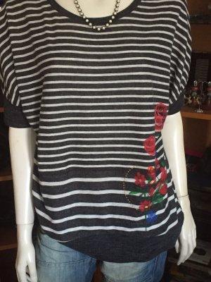 Desigual Sweter z krótkim rękawem biały-czarny