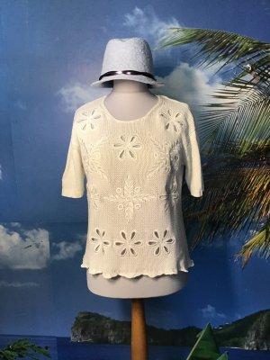 Sweter z krótkim rękawem biały