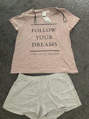 H&M Basic Piżama w kolorze różowego złota-jasnoszary