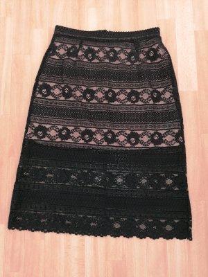 H&M Lace Skirt black-light brown
