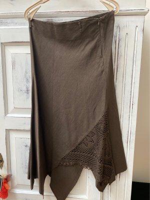 Lniana spódnica czarno-brązowy