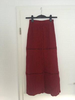 Primark Falda larga rojo oscuro Viscosa