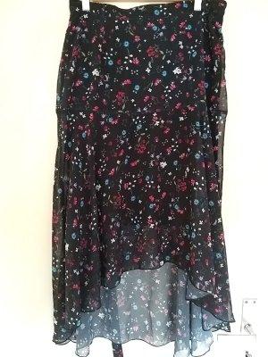 Rainbow Asymmetry Skirt black-pink