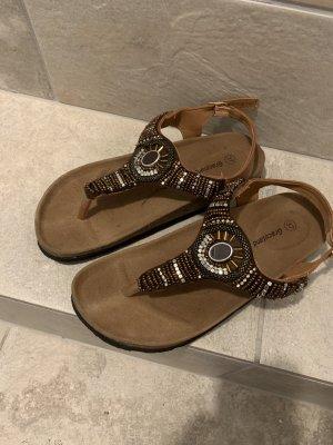 Graceland Toe-Post sandals black brown-brown