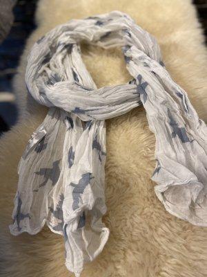 Sommerschal / Tuch mit graublauen Vogeln drauf