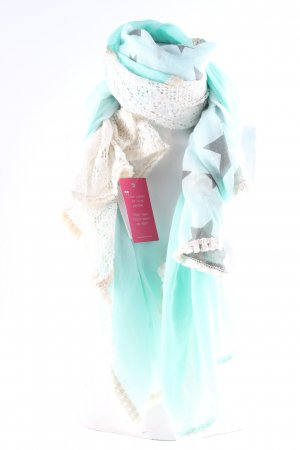 Summer Scarf turquoise-cream weave pattern beach look