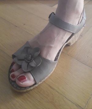 Plateauzool sandalen grijs-bruin-beige Leer