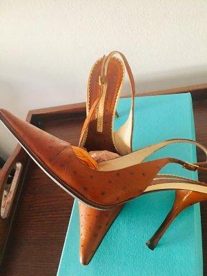 Gianmarco Lorenzi Outdoor Sandals cognac-coloured-cream leather
