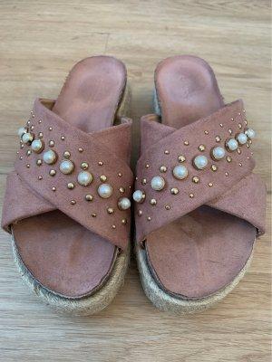 Sandales à plateforme or rose-doré
