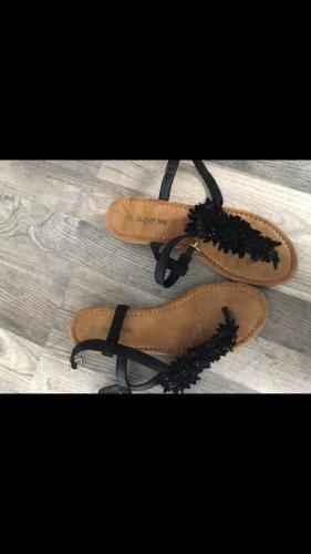 Sandalo con cinturino nero-marrone chiaro