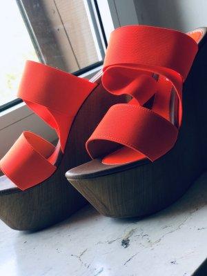 Steve Madden Platform Sandals beige-neon orange wood