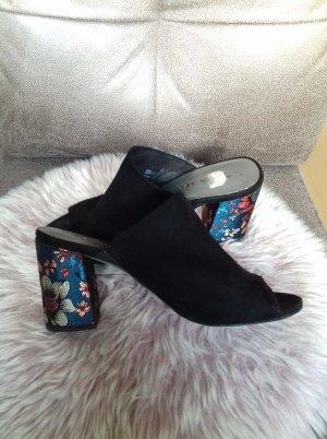 Tamaris Peep Toe Pumps black-cornflower blue