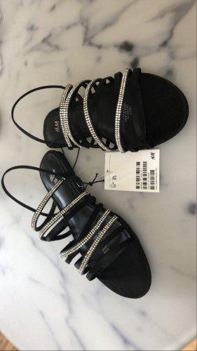 H&M Sandales à lanière noir-argenté