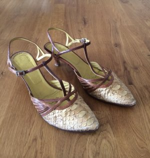 Sommerschuhe_Pumps_Volleder_beige-braun_Gr.38_Made in Italy