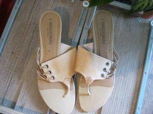 Sally O'Hara T-Strap Sandals sand brown