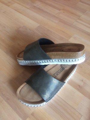 Sandały z rzemykami ochra-zielono-szary