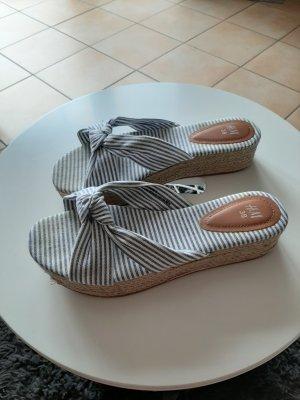 H&M Heel Pantolettes white-steel blue