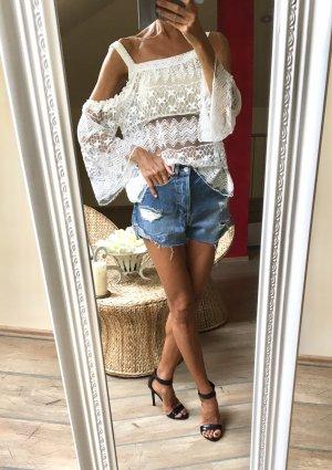 Sommershirt feiner Spitze Weiß Neu!
