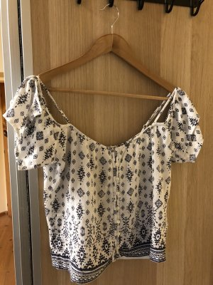 SUPER DRY Camisa tipo Carmen blanco-azul oscuro