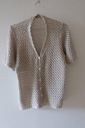 Vintage Cardigan à manches courtes blanc cassé-marron clair