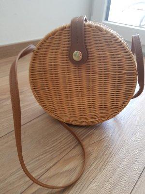 Zara Bolsa de hombro marrón claro