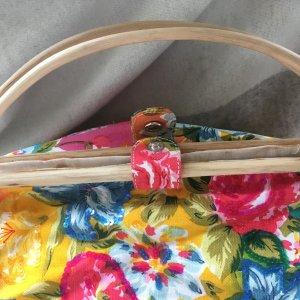 Bolso de tela amarillo neón-rosa Algodón