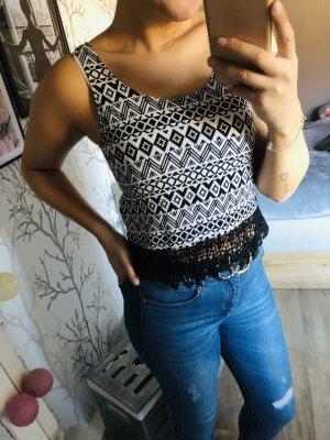 H&M Top di merletto nero-bianco