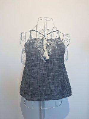 Abercrombie & Fitch Camisa de mujer blanco-azul celeste Algodón