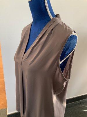 Jones New York Blouse Top grey brown polyester