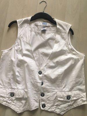 Cecil Denim Vest white cotton