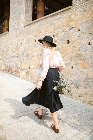 Son de Flor Lniana spódnica biały-czarny