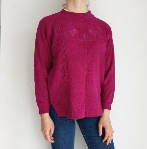 Sona Tex M lila rosa Cardigan Strickjacke Oversize Pullover Hoodie Pulli Sweater Top True Vintage
