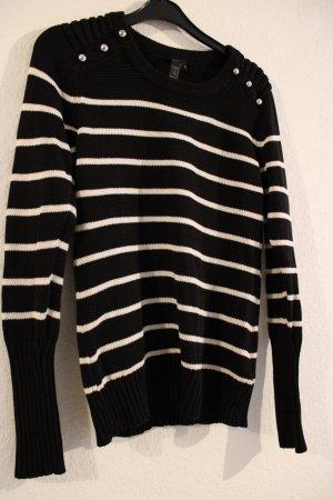 b.p.c. Bonprix Collection Maglione girocollo bianco-nero
