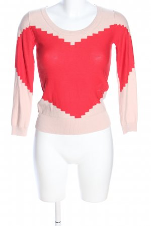 Sonia by Sonia Rykiel Rundhalspullover creme-rot grafisches Muster Business-Look