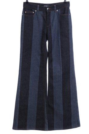 Sonia Rykiel Boot Cut Jeans blau-schwarz Streifenmuster Elegant