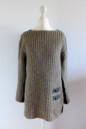 Sonia Rykiel Long Pullover Pulli Wolle Alpaka Cashmere braun beige schwarz S M 36 38 40