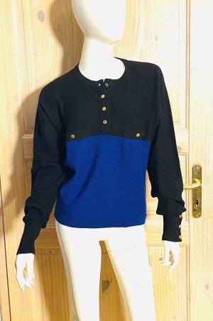 Sonia Rykiel Wełniany sweter czarny-niebieski Angora