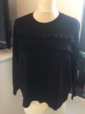 Sonia Rykiel sweater schwarz mit Ruffels; Boxy shape