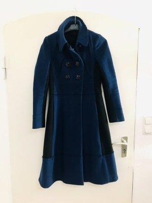 Sonia Rykiel Wełniany płaszcz czarny-niebieski