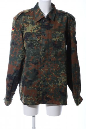 Veste militaire kaki-brun motif abstrait style décontracté