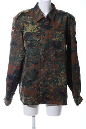 Militair jack khaki-bruin abstract patroon casual uitstraling