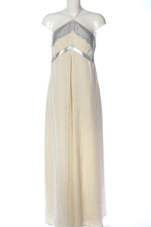 Sonja Kiefer Ballkleid creme-silberfarben Streifenmuster extravaganter Stil