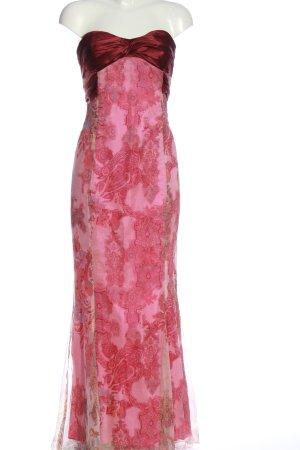 Sonja Kiefer Abito senza spalle rosa-rosso motivo astratto elegante